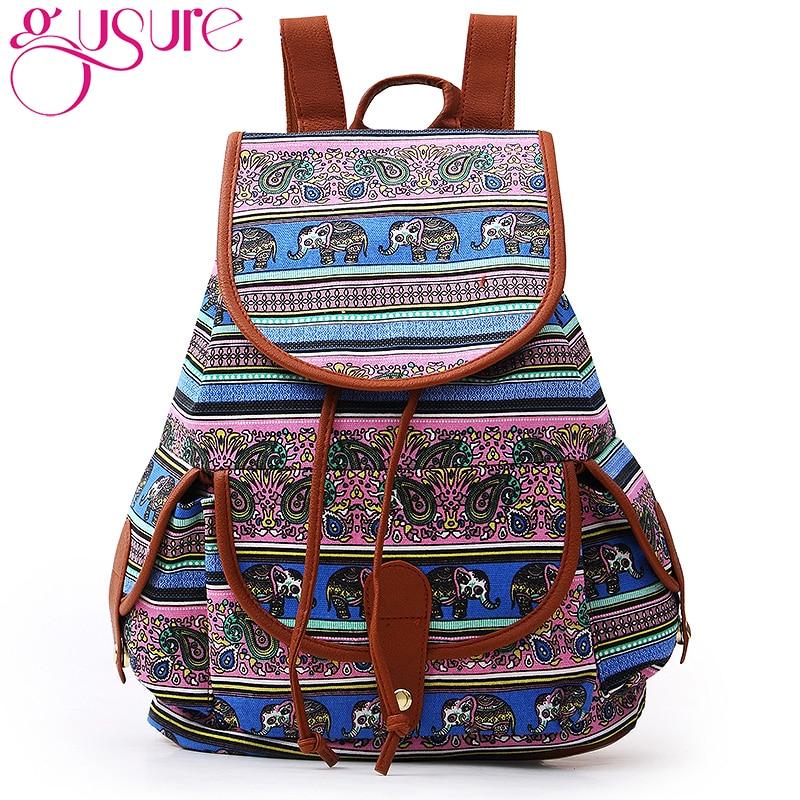 GUSURE 2018 Elephant Printing Canvas Backpack For Women Drawstring Rucksack Bagpack Feminina Sac A Dos Casual Shoulder Bag