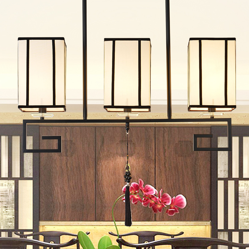 Chinese restaurant Pendant Lights for teahouse Chinese fabric study lamp hotel decorated lighting 3/4 heads lamps LU628 ZL451