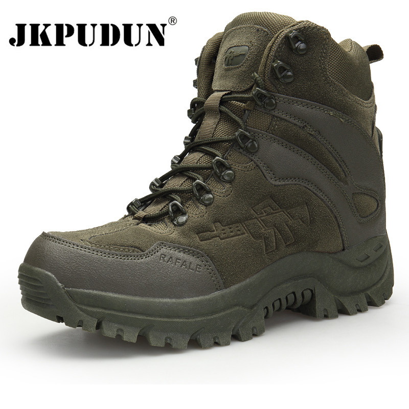 JKPUDUN Tactical Military Combat Boots Men Genuine Leather US Army Hunting Trekking Camping Mountaineering Winter Work Shoes Bot
