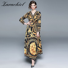 482cb39d8457 HAMALIEL Runway Baroque Pattern Kimono Belt Long Sleeve Maxi Dress Wrap  Dresses