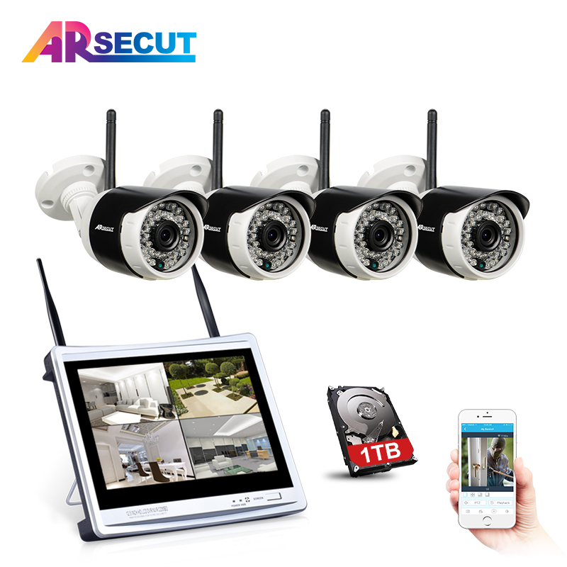 Plug And Play 12 LCD 4CH Wireless NVR Kit Security CCTV System 960P HD IR Outdoor Wifi IP Camera Video Surveillance Kit 1TB HDD new listing plug and play 4ch wireless nvr kit 7 inch lcd screen 720p hd outdoor security wifi camera cctv system 1tb hdd
