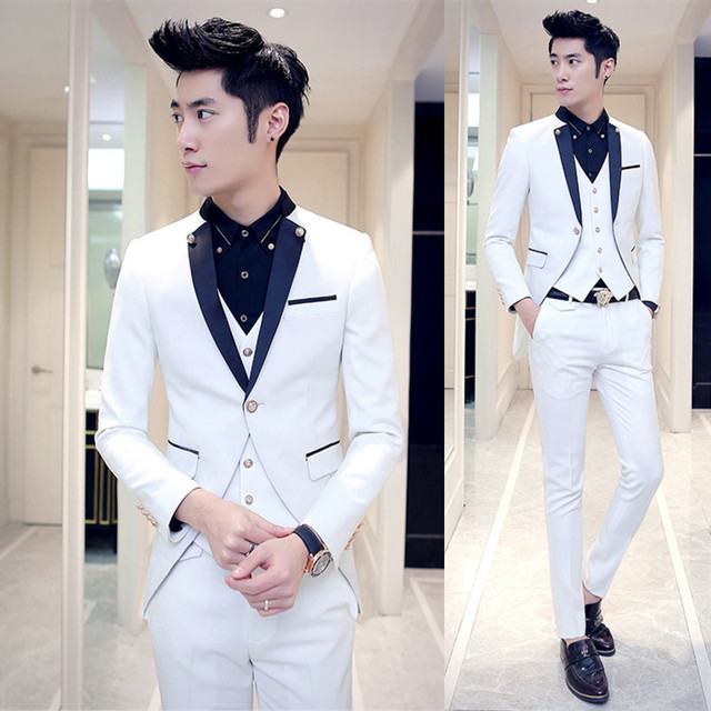 Tuxedo Mens Wedding Suits 2018 Costume Homme Mariage Black And ...