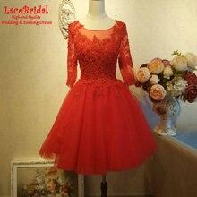 Elegante Rote Ballkleid Applique Mini Spitze Cocktailkleider 2016 Mit 3/4 Sleeves Short Partei Abschlussball-kleider robe de cocktail TC20