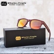 Whale&Eagle Red-rose Wood Polarized Sunglasses Fashion Sun Glasses for Men Women Red Cool Coated Lens Handmade Brand UV400
