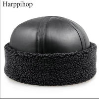 2017 New Mens And Women Genuine Sheepskin Beanie Hats Black Sheepskin Warm Fur Caps Gift Hats