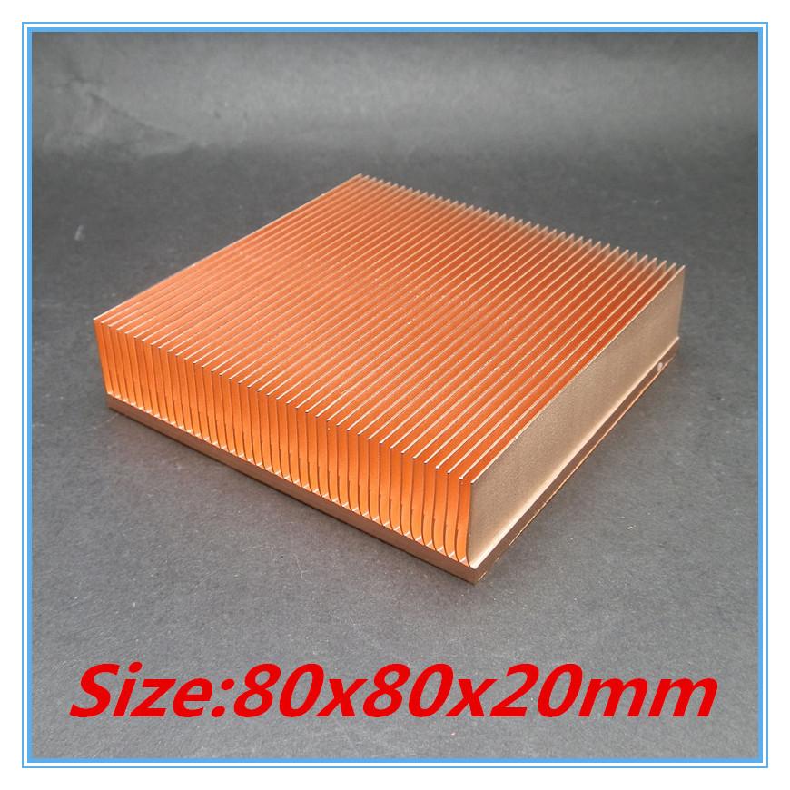 Prix pour 2016 nouveau 80x80x20mm Cuivre Pur Radiateur Biseautage Fin Dissipateur de Chaleur pour électronique Puce LED VGA radiateur de refroidissement refroidisseur