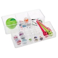 PHFU Acrylic Cosmetic Display Stand Storage Case Makeup Double Deck