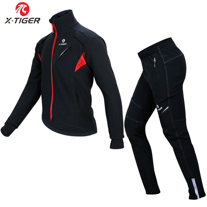 X TIGER Cycling Jersey Winter Thermal Fleece Cycling Clothing Windproof Waterproof Bicycle Reflective Cycling Jacket Sportswear