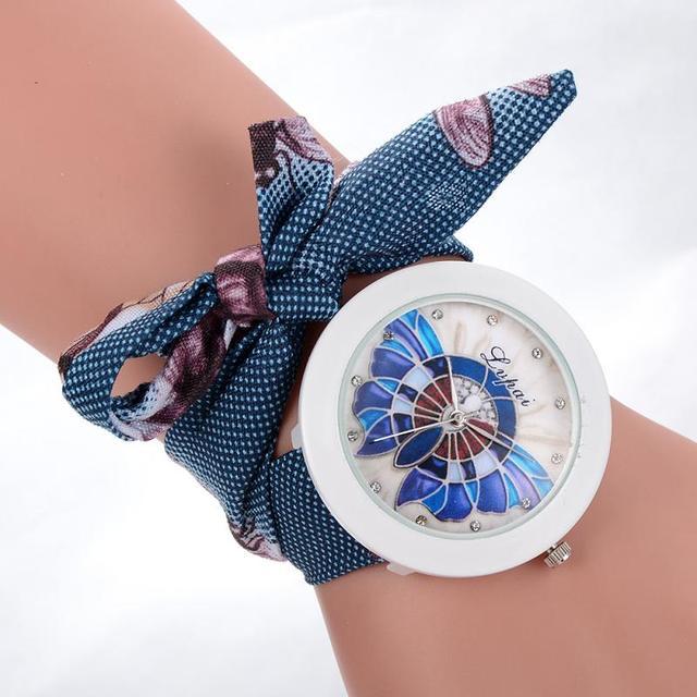 Ladies flower cloth wristwatch fashion women dress watch high quality fabric watch sweet girls Bracelet watch