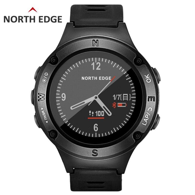 NORTH EDGE montre de sport GPS pour hommes montres numériques résistantes à l'eau fréquence cardiaque militaire altimètre baromètre boussole heures de course