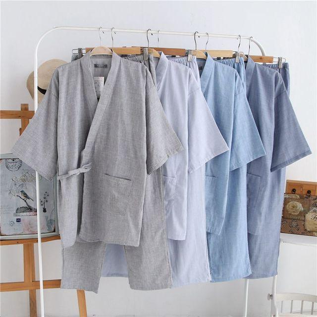 Бесплатная доставка Новые Мужчины Японские кимоно костюмы Мужские свободные пижамы наборы Хлопка Халат для мужчин плюс размер Хлопка Юката 82809