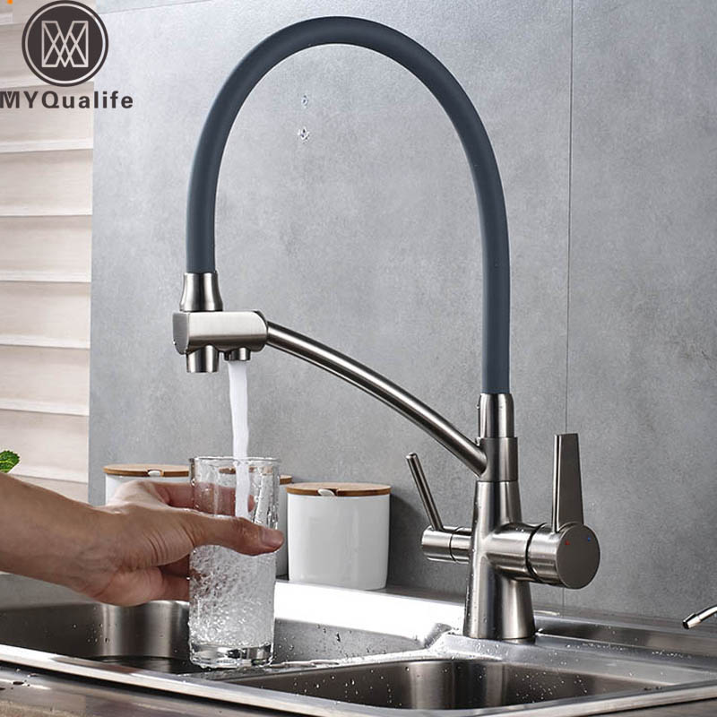 Абсолютно Новый Кухонный раковина кран чистый фильтр для воды Смеситель кран двойные ручки очистка кухня горячий и холодный кран