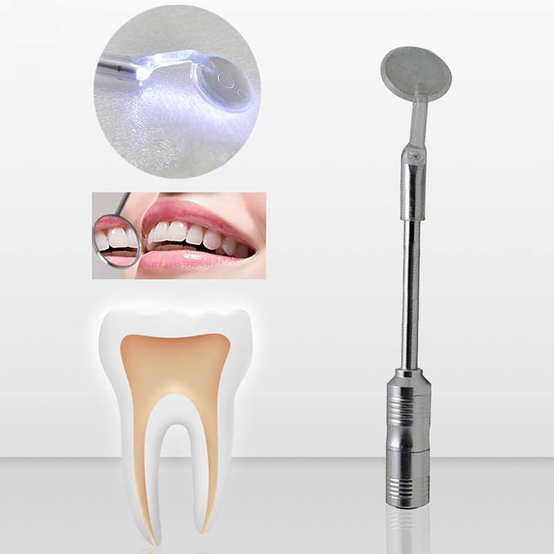 Oral Dental Teeth Checking Mirror Metal LED Lighted Dental Mouth Oral Mirror Teeth Clean Hygiene Tool Care Dental Instrument