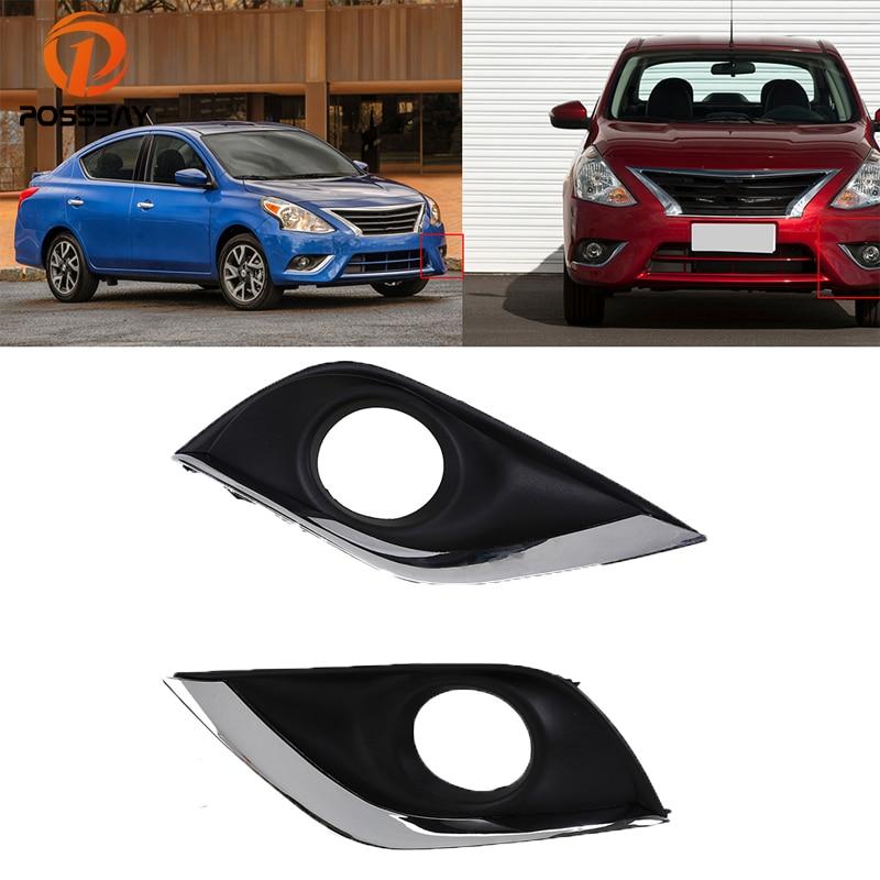 2016 Nissan Versa Exterior: POSSBAY Car Front Fog Light Cover Trim Fog Lamp Hoods For