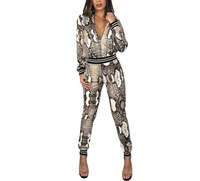 Women Wardrobe 2 Piece Snakeskin Print Outfits Casual long sleeve Bodycon long pants set Front Zipper Jumpsuit
