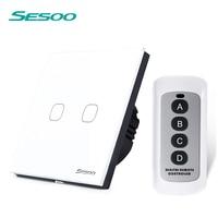 SESOO EU UK Standard 2 Gang 1 Way Wireless Remote Control Light Swiches Smart Home RF433