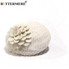 BUTTERMERE Women Pillbox Hat With Veil 100% Wool White Vintage Fedora British Ladies Wedding Elegant Female Bride Party