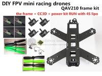 DIY Mini FPV QAV210 ZMR210 Cross Race Quadcopter Pure Carbon Fiber Frame Kit CC3D EMAX 2204II