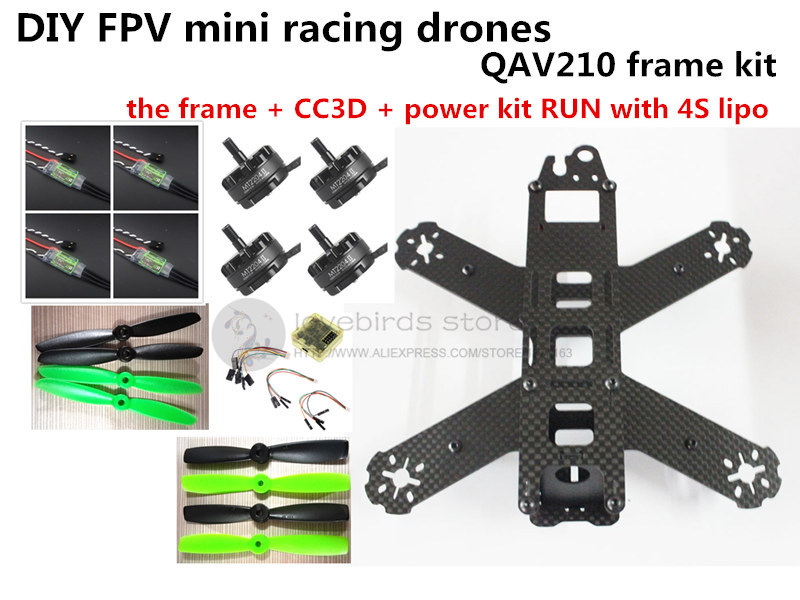 DIY mini drone QAV210 / ZMR210 FPV race quadcopter pure carbon frame kit CC3D + EMAX 2204II KV2300 motor + BL12A ESC RUN with 4S diy mini drone fpv race nighthawk 250 qav280 quadcopter pure carbon frame kit naze32 10dof emax mt2206ii kv1900 run with 4s