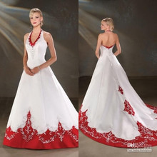 Hot Sale Halter Neck Embriodery Beads Satin A-Line White and Red Wedding Dress Bridal Gown Custom Size 4 6 8 10 12 14 16+ W348