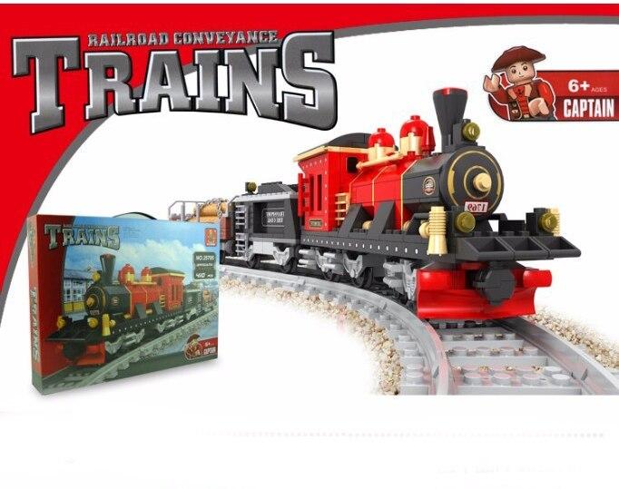 Модель здания комплект совместимые с лего города железнодорожный поезд 410 шт. 3D блоки Развивающие модели здания игрушки хобби для детей ...