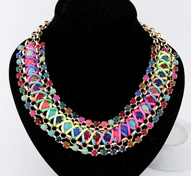 Fashion fluorescent color Metal discus establishment  temperament Fashion geometric weaving colorful personality lovely necklace