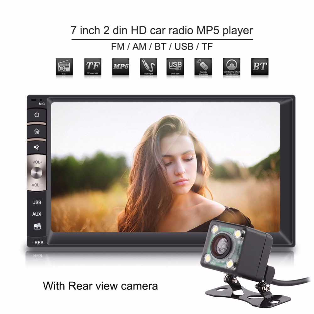 7 inch  Universal 2 Din Bluetooth USB/TF FM Aux Input Car Radio MP5 Player w/ Rear View Camera Car Audio Player Auto Parts