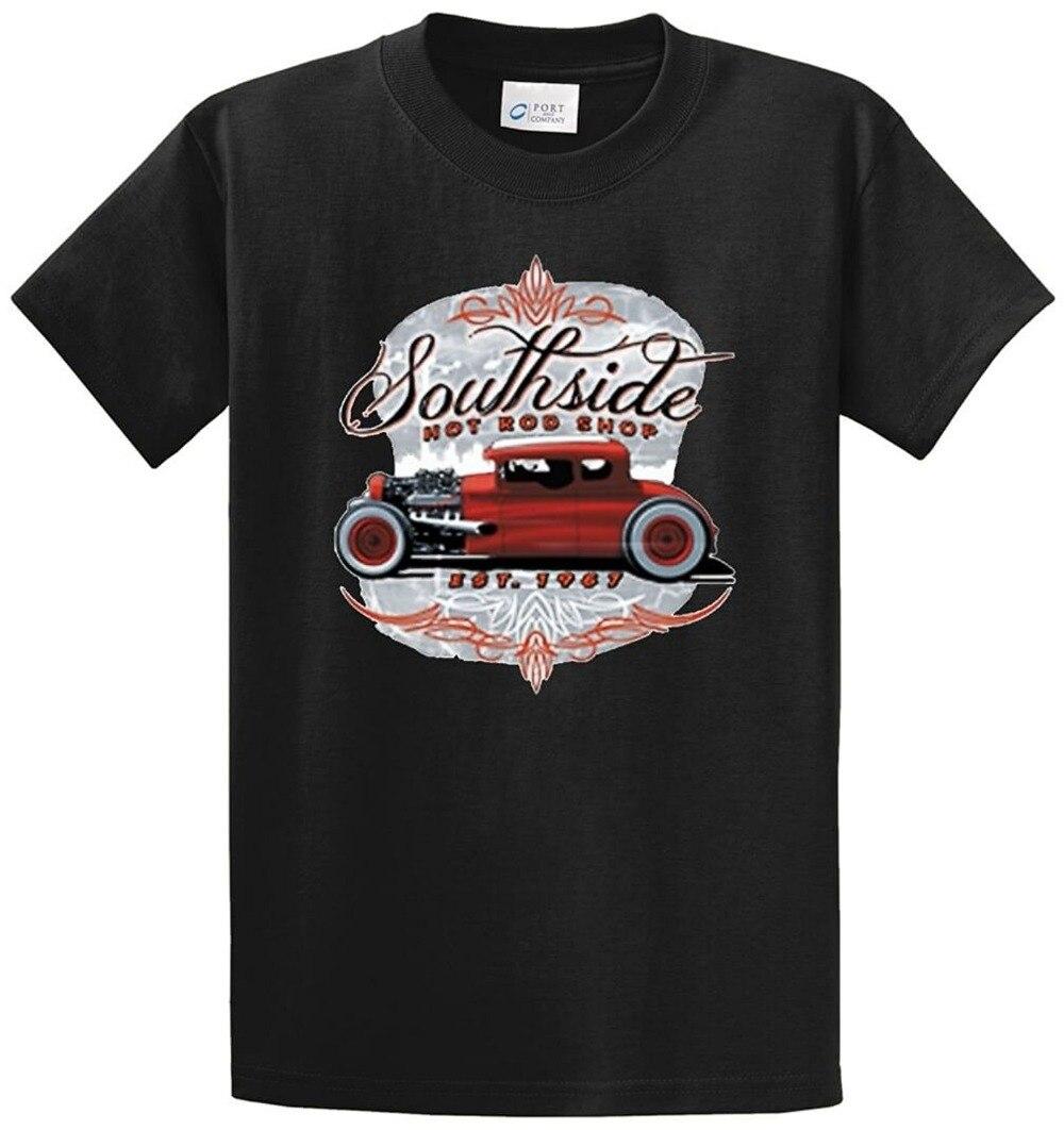 Cool Shirts Mens Short Funny Crew Neck Printed Tees Southside Hot Rod Shop Printed Tee Shirt T Shirt
