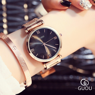 Hot Sale High quality Classic Fashion Lady Quartz Watch Rose Gold Stainless steel Roman Numerals Waterproof Women Watch Montres hot sale fashion stainless steel rose gold
