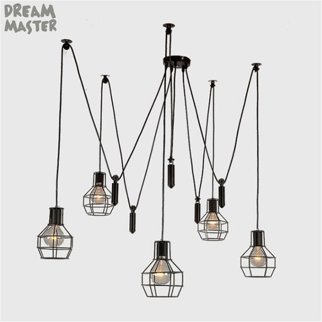 Online shop fashion new industrial country style iron frame pendant fashion new industrial country style iron frame pendant lights art spider suspension lamp 5 lights pulley function adjustment aloadofball Image collections