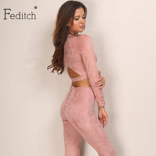Feditch 2017 Suede Women Jumpsuit Sexy Back Hollow Rompers Women Fashion Bodycon Combinaison Femme Solid Lady Club Overalls