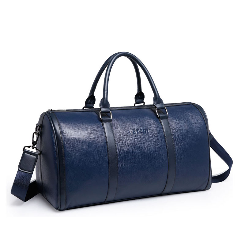 Luxury mens leather travel bag vintage duffle handbags large men business luggage bag with shoulder strap sac voyages hommes free shipping vintage style mens genuine leather large luggage duffle gym bag shoulder tote handbag travel bag 3061 black