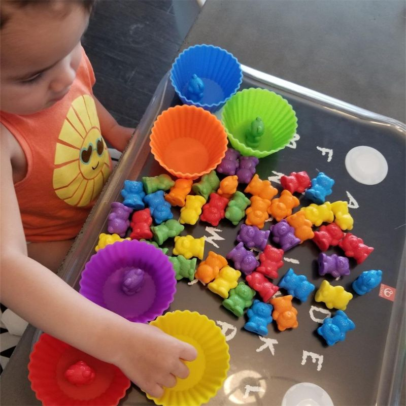 Counting Bears With Stacking Cups - Montessori Rainbow Matching Game, Educational Color Sorting Toys For Toddlers Baby,Toy Stora