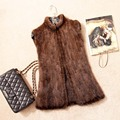 High Quality Spring Natural knitted Mink fur vest women's luxury mink fur vests jackets fur waistcoats Plus Size BF-V0004