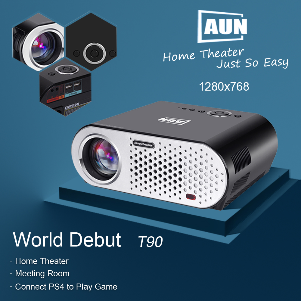 AUN Projector Android Wifi System Bluetooth 3200Lumens Proyector FHD ...