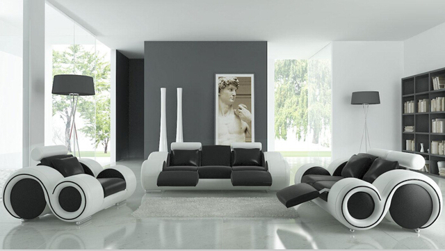 Living Room Sofa Furniture With Recliner Modern Leather Black White