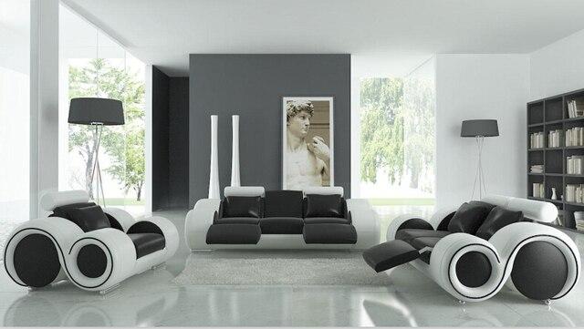 Wohnzimmer sofa möbel mit liege, moderne ledersofa schwarz/weiß in ...