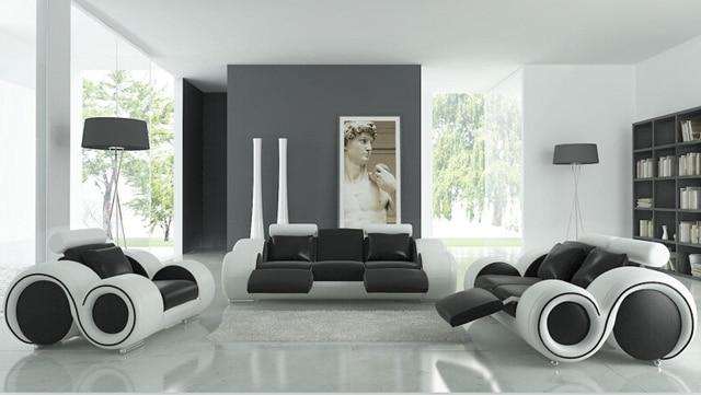 Woonkamer sofa meubels met fauteuil, moderne lederen sofa zwart/wit ...