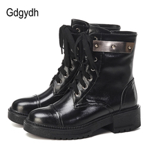 Gdgydh Fashion Metal Womens Doc Ankle Boots Genuine Leather Mid Heel Lace Up Worker Shoes Female Black Goth Rubber Sole