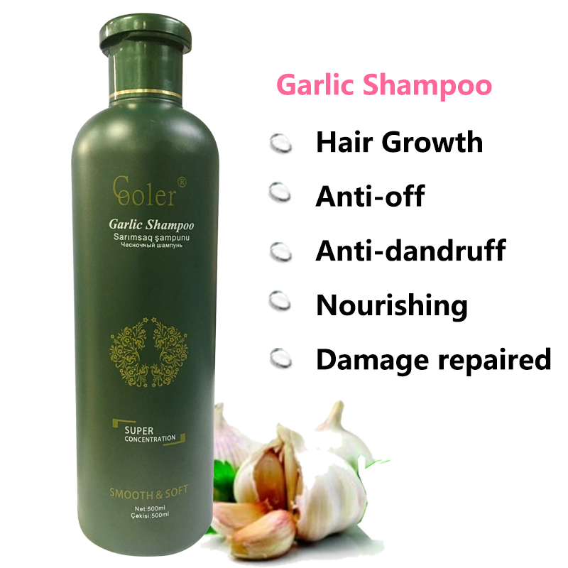 Hvitløk Hair Shampoo Hair Growth Nærende Anti Skæl Sjampo Professional Care 500ml Gratis frakt