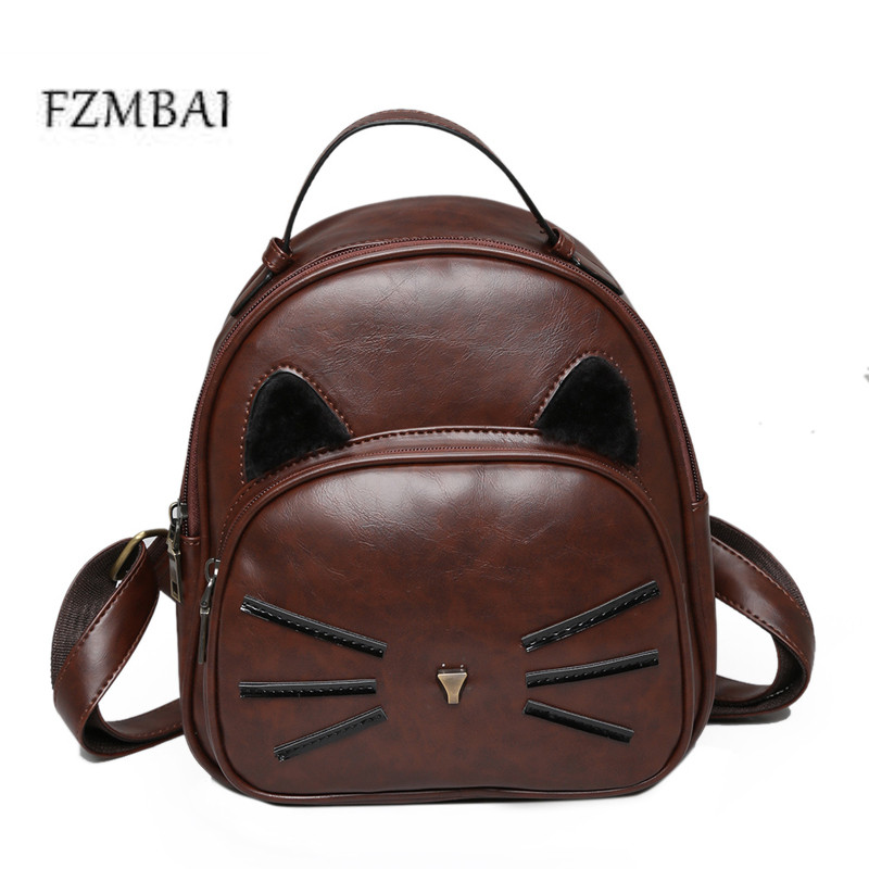 2017 New PU Bag Retro Kitten Pattern Female Backpack Korean Fashion All match Academy Student Backpack