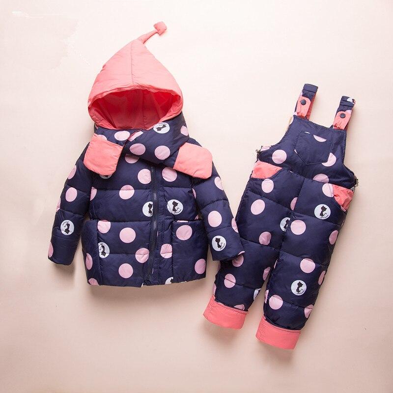 купить Winter Russia Kids Down Suits 2018 Toddler Baby Girl Jacket Clothes Sets Overalls Warm Children Outerwear+Jumpsuit Snowsuit 1-3Y недорого