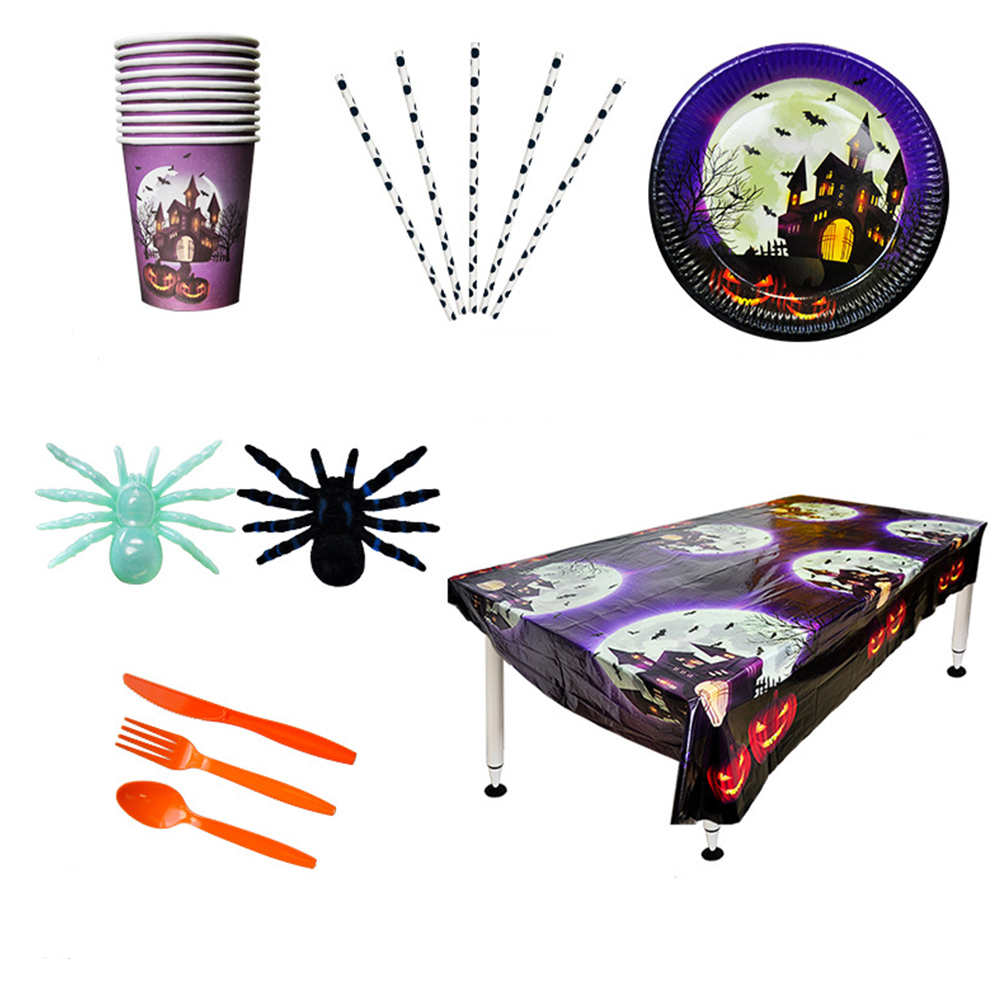 11 In 1 Disposable Paper Flatware Set Halloween Castle Patterned Paper Plate Straw Cup Tablecloth Tableware Set Party Favors in Disposable Party Tableware from Home Garden