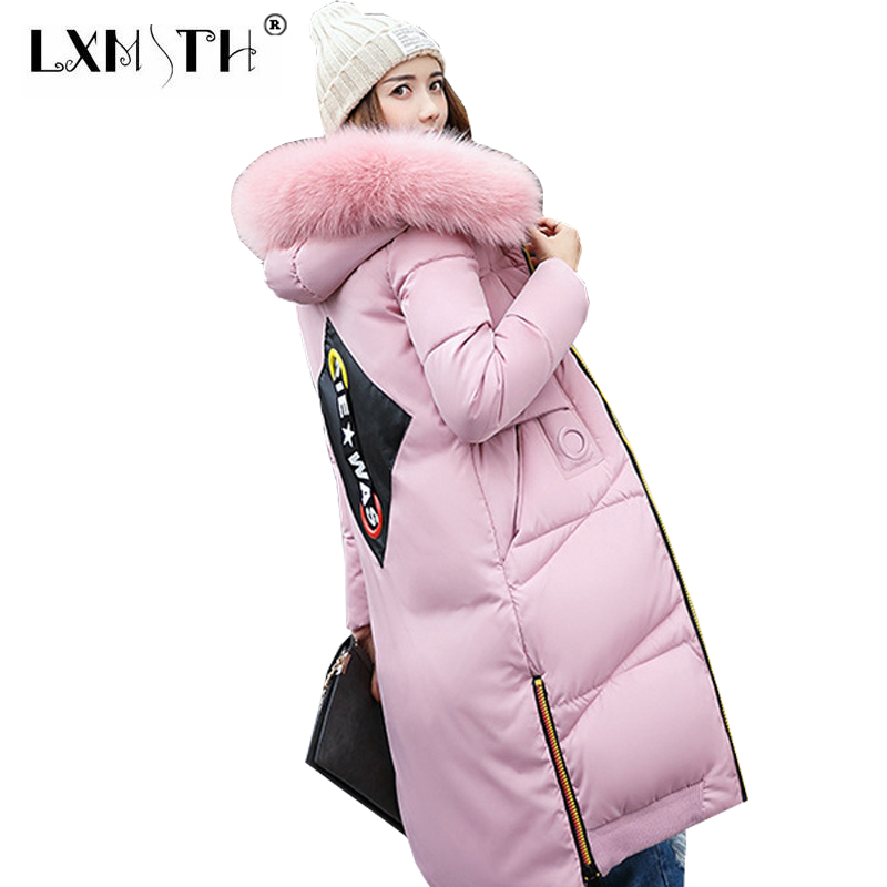 Ukraine Womens Parka Coats Winter 2017 Thick Parkas Jackets For Women Hooded Fur Collar Coat Female Long Slim Ladies Jacket XXL