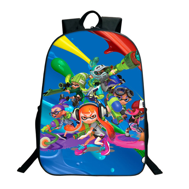 16 Inch Splatoon 2 Backpacks For Teenagers Casual Men Women's Travel Shoulder Bags Splatoon Bags For Children Kids Birthday Gift 1
