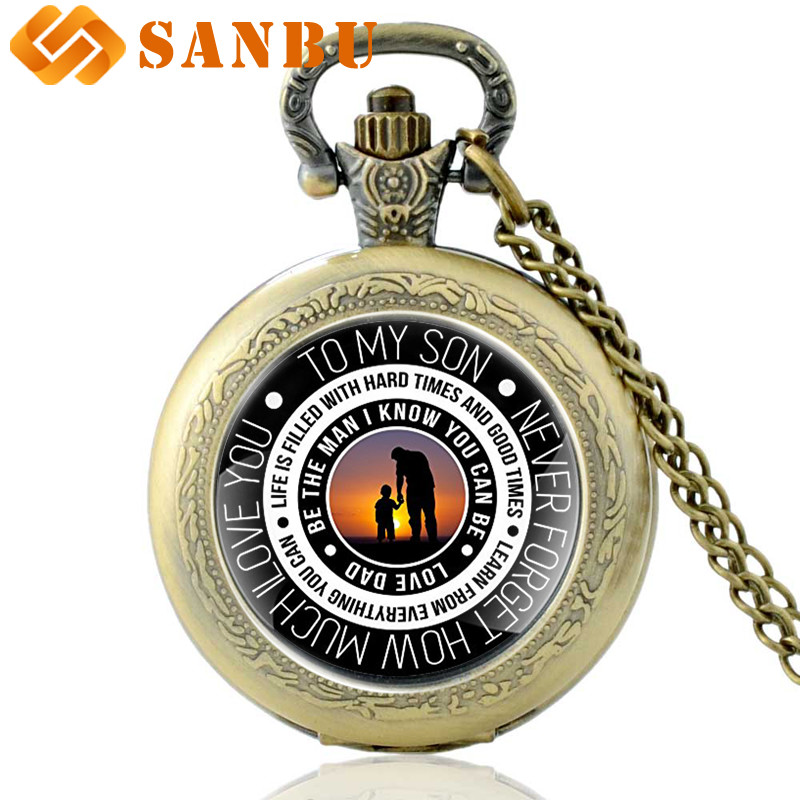 Retro Family Quartz Pocket Watch Vintage Gift To My Son Fashion Child Pendant Necklace Antique Jewelry