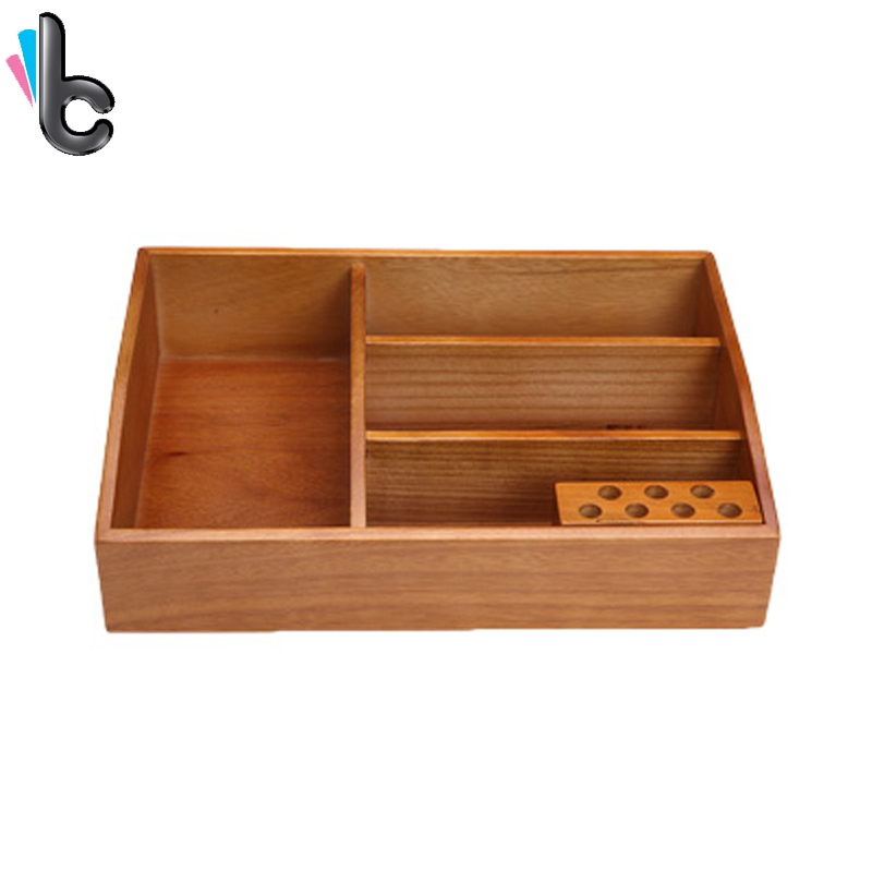 Creative Wooden Cosmetic Storage Box Desktop Jewelry Makeup Organizer Home Office Supplies