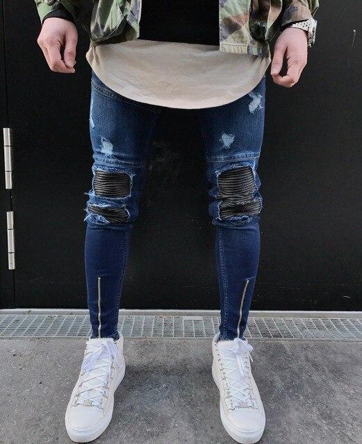 785d473f6f8fb New Biker Jeans Men Stretch Black Ripped Knee Biker Jeans For Men With  Zipper Distressed Skinny Jeans Slim Fit Denim Male Pants