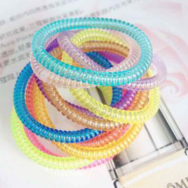 10 pcs scrunchy phone cord telephone wire elastic Silicone rubber bands for hair accessories gum springs women and baby girls