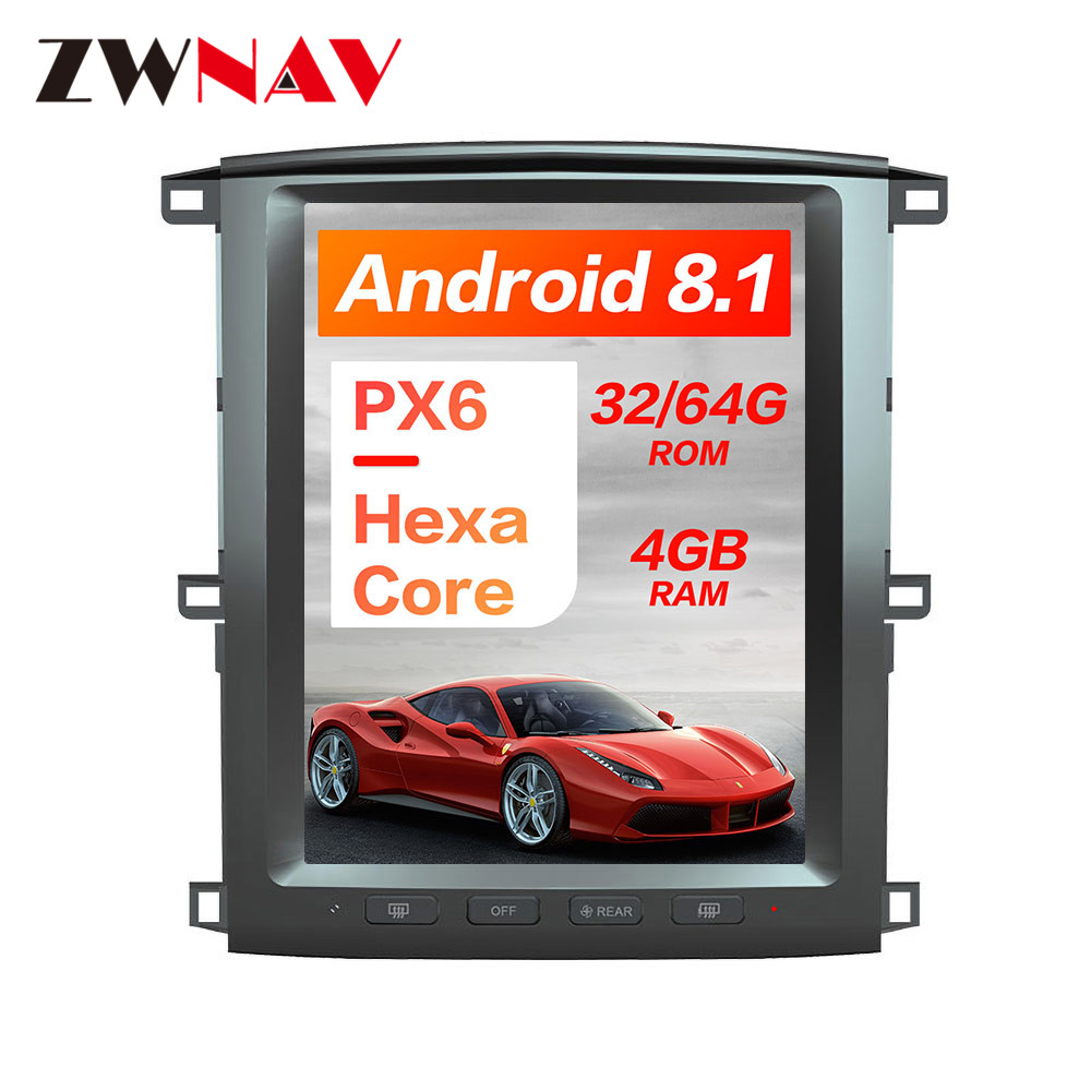 PX6 4GB RAM Tesla style Android 8 1 Car GPS Navigation For TOYOTA LAND CRUISER LC100